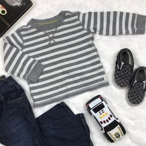 Gray and White Striped Thermal Long Sleeve Tee